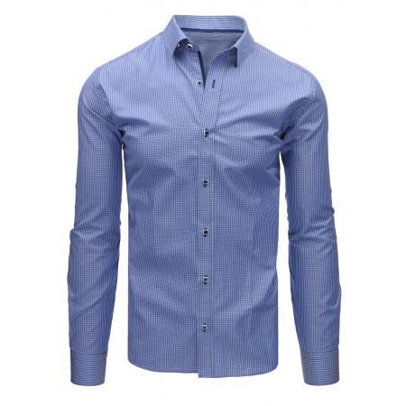 Modrá pánská košile kostkovaná s dlouhým rukávem