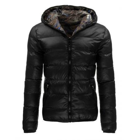 Pánská oboustranná bunda s kapucí černá