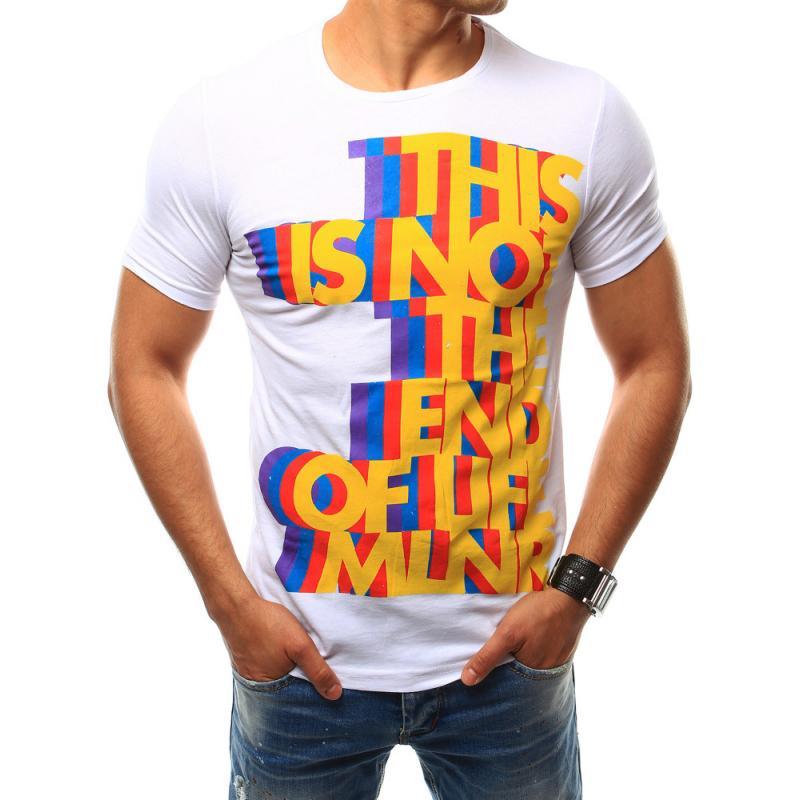 444ef8c24b3 Pánské tričko s barevným potiskem bílé