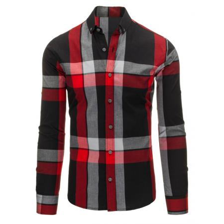 Černo-červená pánská košile kostkovaná
