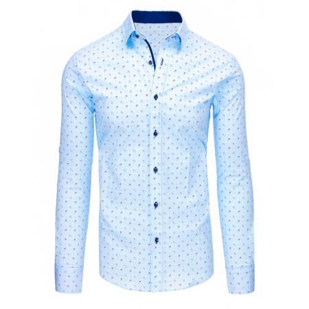 Světle modrá pánská košile s vzorem a dlouhým rukávem 5db0b43b10
