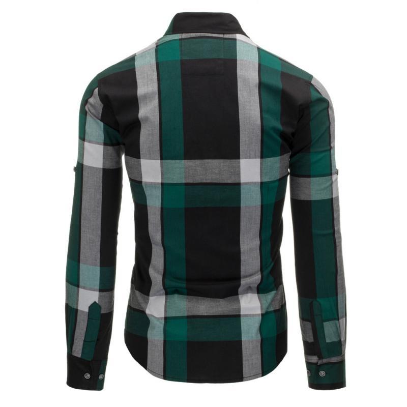 Černo-zelená pánská košile kostkovaná  5917a1f80b