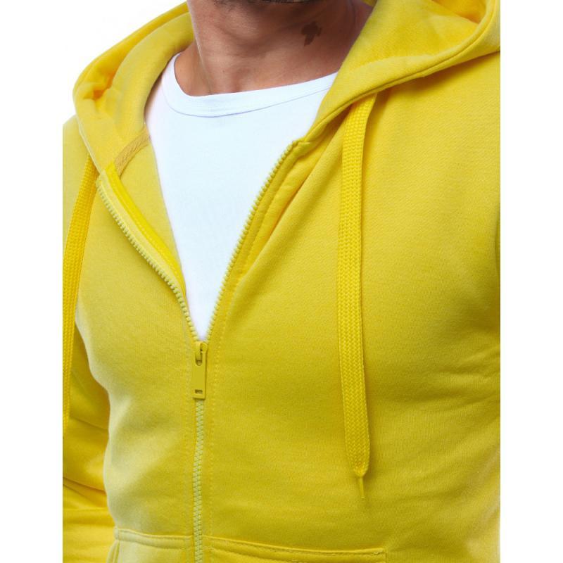 Pánská mikina s kapucí rozepínací žlutá  474fe297fa