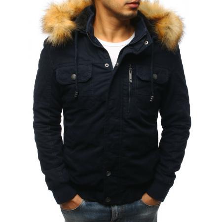 Pánská zimní bunda tmavě modrá