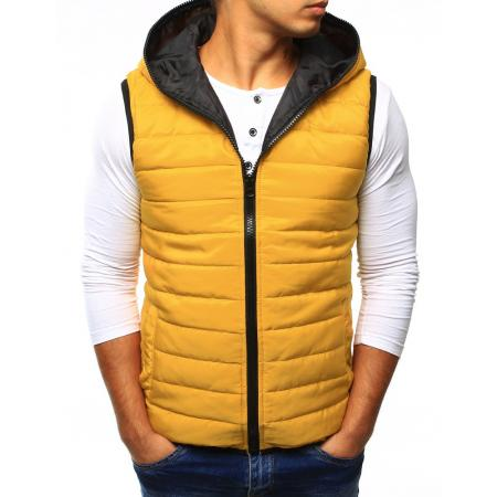 Pánská vesta prošívaná s kapucí žlutá
