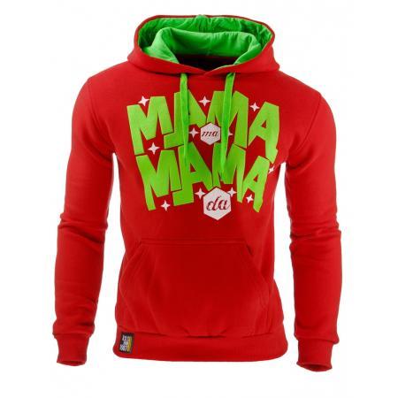 Pánská stylová mikina s kapucí červená
