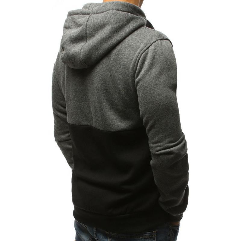 0e9e2fe9911 Pánská ELEGANT mikina s kapucí antracitová-černá