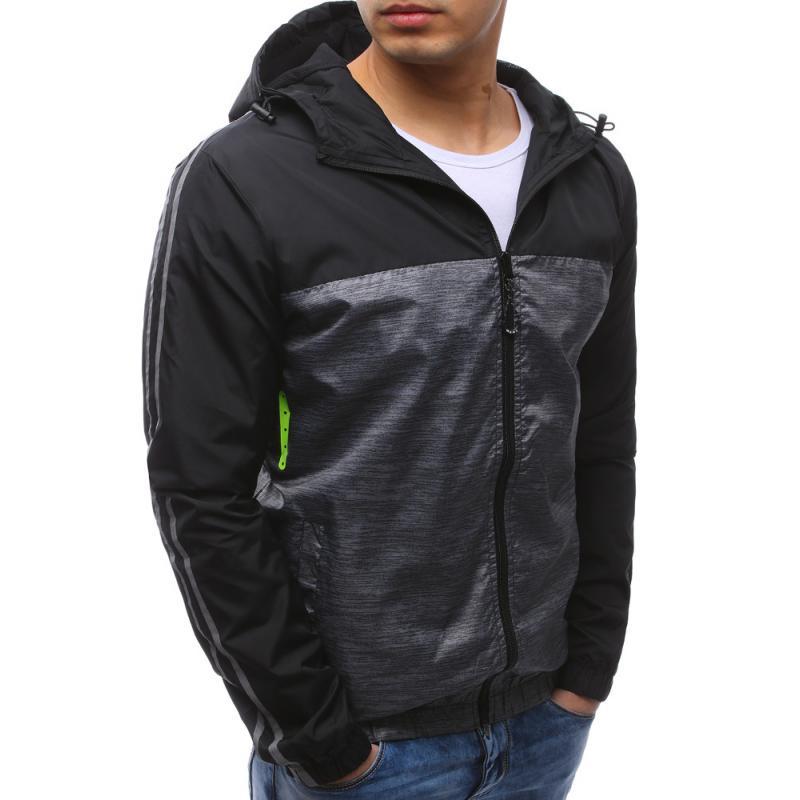 Pánská lehká bunda černá s kapucí  2b8eba84d0