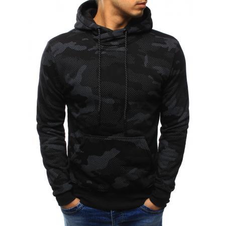 Pánská mikina camo černá s kapucí
