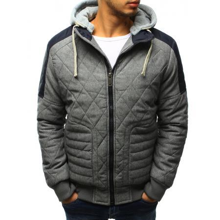 Pánská bunda zimní prošívaná šedá