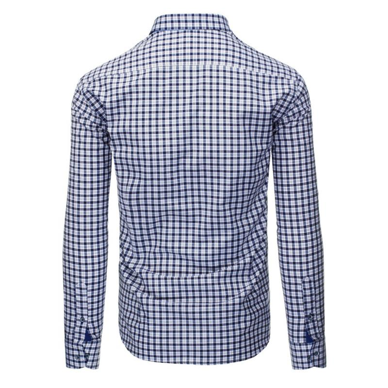 dc83991b1cb Tmavě modrá pánská košile mřížkovaný vzor s dlouhým rukávem slim fit ...