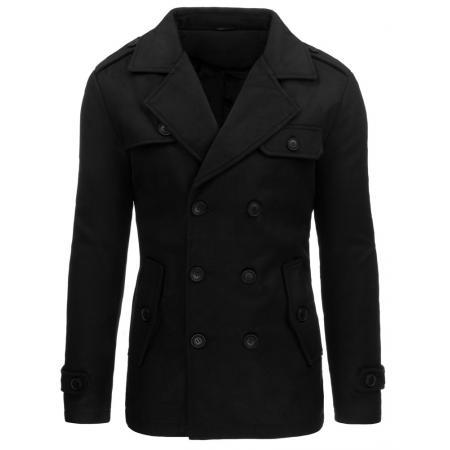 Pánský moderní černý kabát se zapínáním na knoflíky
