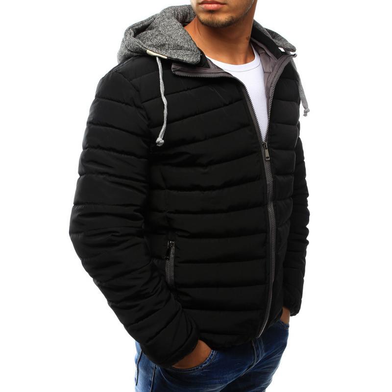 Pánská bunda prošívaná s kapucí černá  87873edd0d1