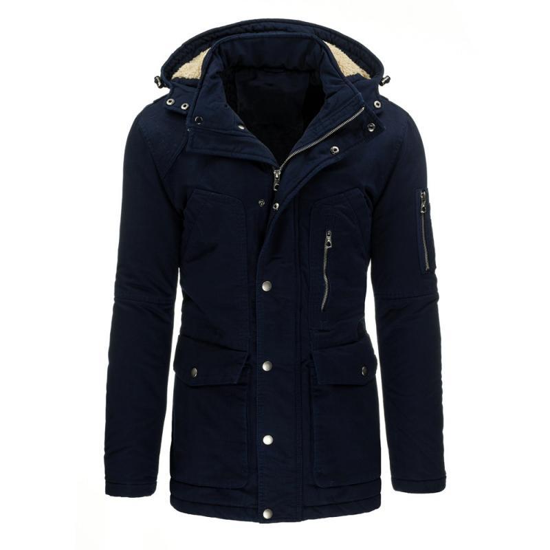 8456bb50cc98 Pánská zimní bunda (parka) modrá s odnímatelnou kapucí