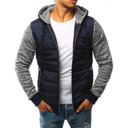 Pánská bunda prošívaná s kapucí tmavě modrá