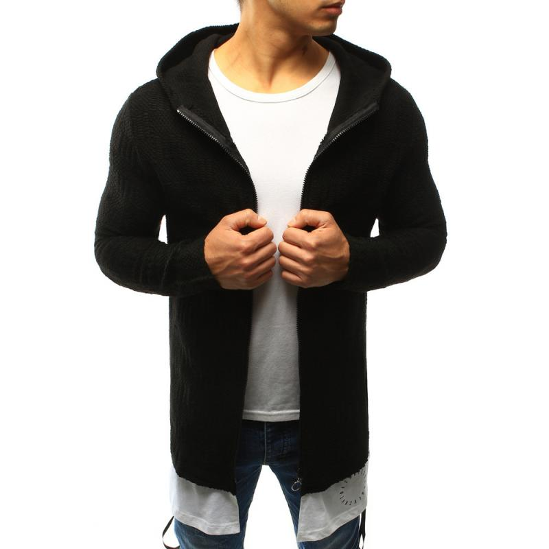 Pánský svetr rozepínací s kapucí černý  e9f11fa3f0