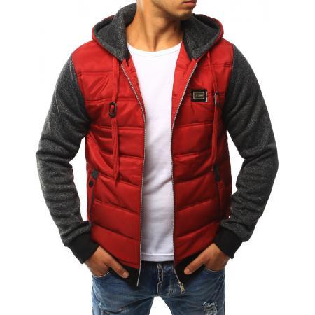 Pánská bunda prošívaná s kapucí červená