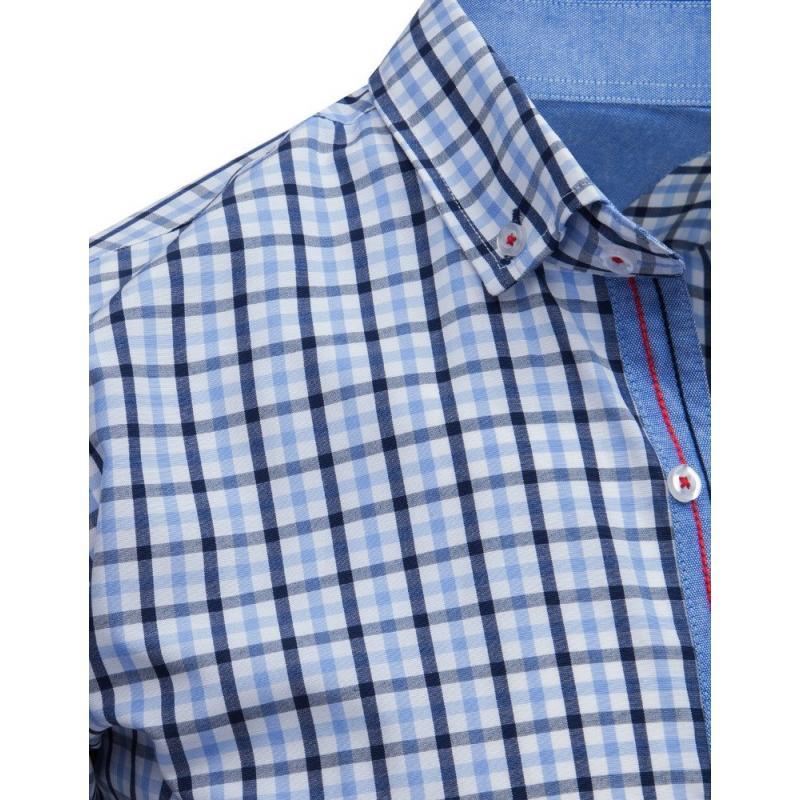 Modro-bílá pánská kostkovaná košile  0c77a93001