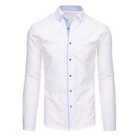 30d3b59b782 Pánská moderní bílá košile s kontrastní vnitřní légou