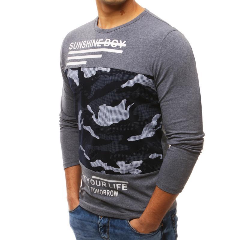 Pánské černé tričko s dlouhým rukávem a potiskem  0cb003e8f7