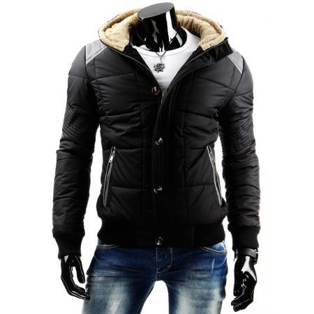 Černá zimní pánská prošívaná bunda