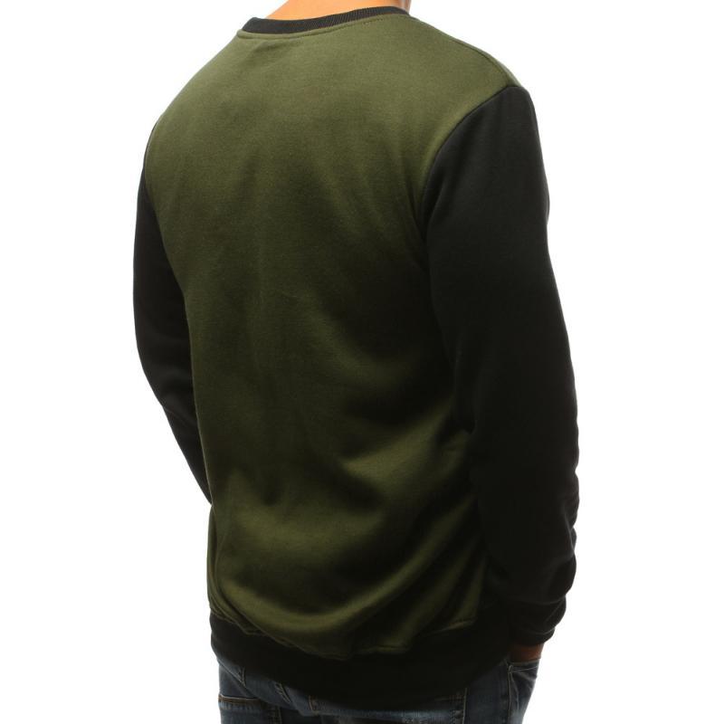 Pánská mikina bez kapuce zelená  158e1a3e24