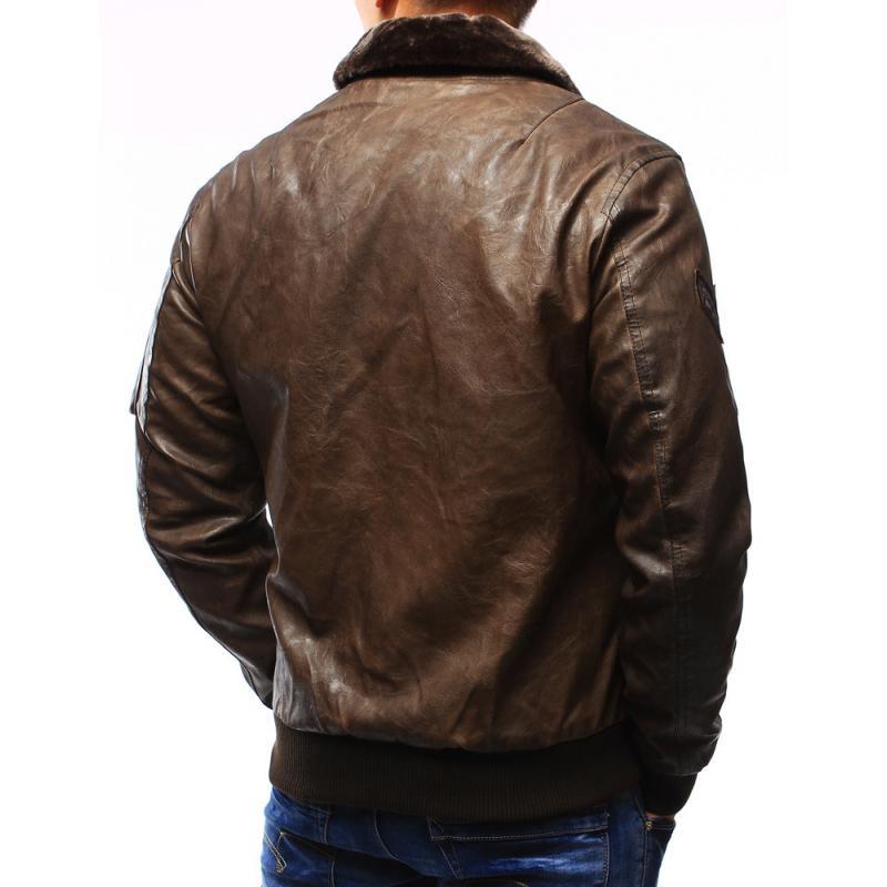 Pánská kožená bunda - pilotka hnědá  a46f3612fc5