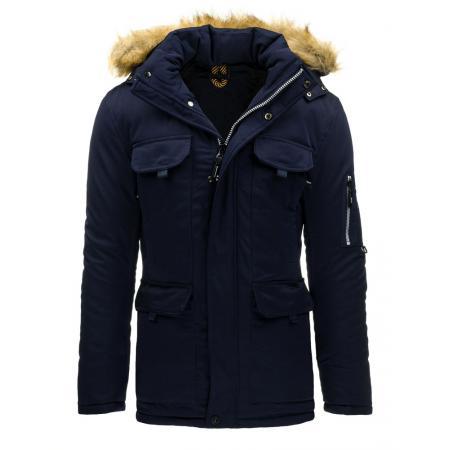 Pánská zimní bunda (parka) s kapucí modrá