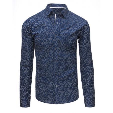 7729902da76 Tmavě modrá pánská moderní košile vzorovaná s dlouhým rukávem
