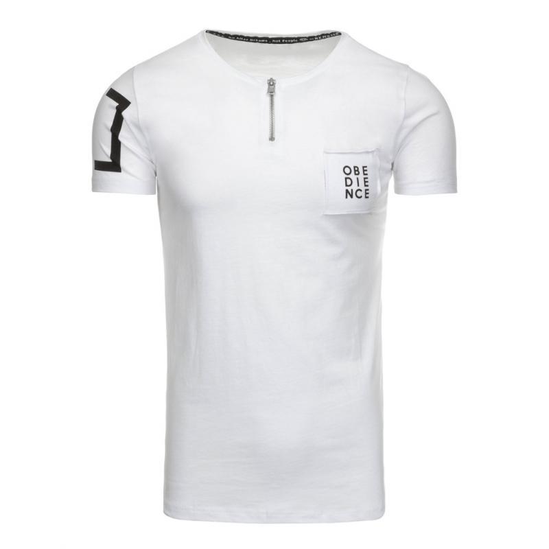 fef4df4c90f5 Pánské bílé tričko s potiskem a kulatým výstřihem