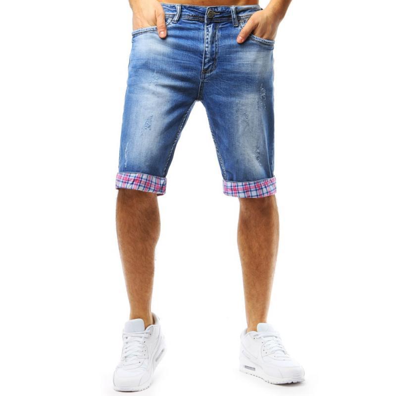 5630bbd0e19e Pánské džínové kraťasy modré ohrnutý vzhled