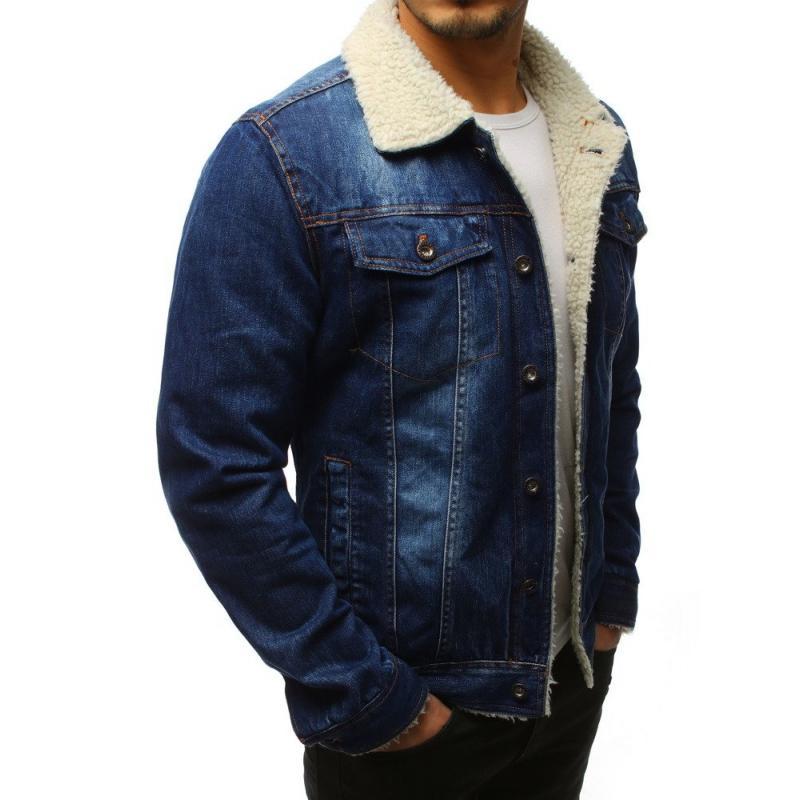 bd71a81fb7a Pánská bunda džíska zateplená modrá