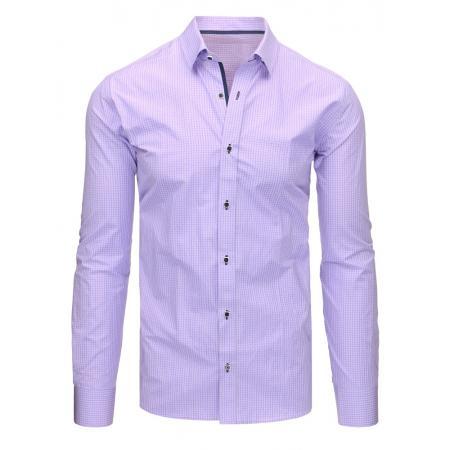 Fialová pánská košile s dlouhým rukávem