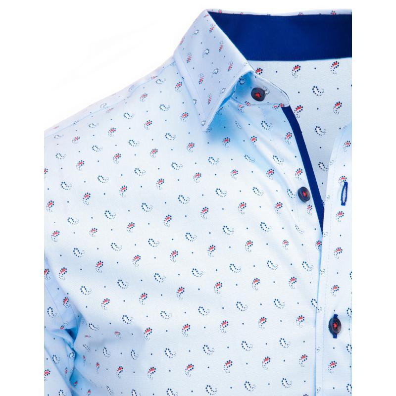 66c839a8bf5 Světle modrá pánská košile s vzorem a dlouhým rukávem