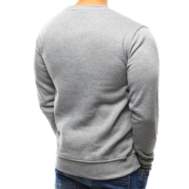 Pánská stylová jednobarevná mikina šedá  dc85ecf498