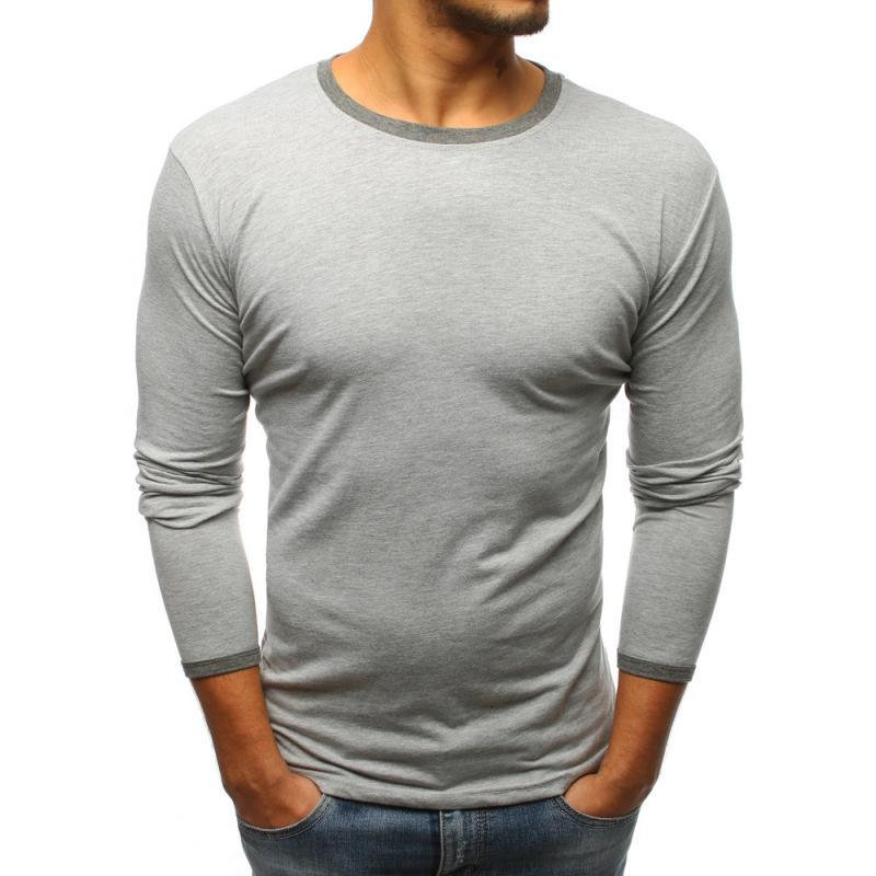 Pánské šedé tričko s dlouhým rukávem  239be061f0
