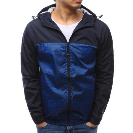 Pánské lehká jarní bunda s kapucí modrá