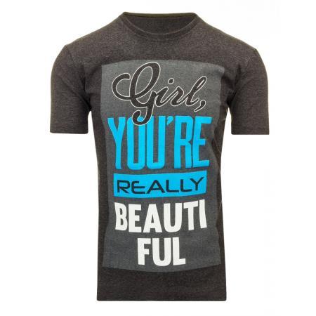 Pánské tričko s potiskem (triko) antracitové
