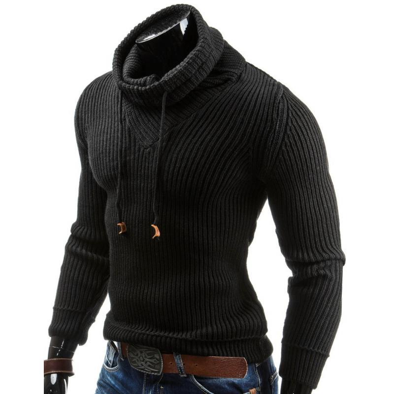 4a5bdd08185 Teplý pánský svetr do v s vysokým límcem