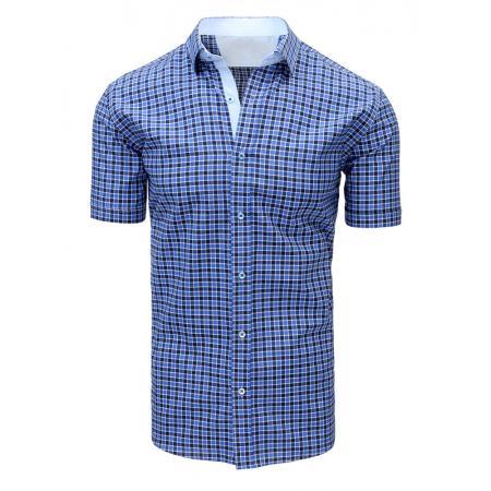 Modrá pánská moderní košile čtverečkovaná