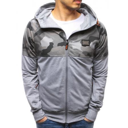 Pánská mikina se zipem s kapucí šedá
