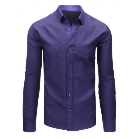 Fialová pánská košile s vzorem a dlouhým rukávem