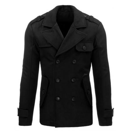 Pánský stylový zimní černý kabát na knoflíky