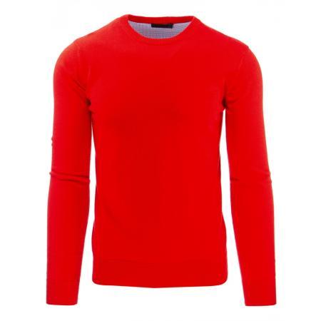 Módní pánský svetr s kulatým výstřihem červený