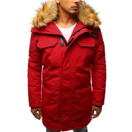 Pánská zimní parka bunda červená