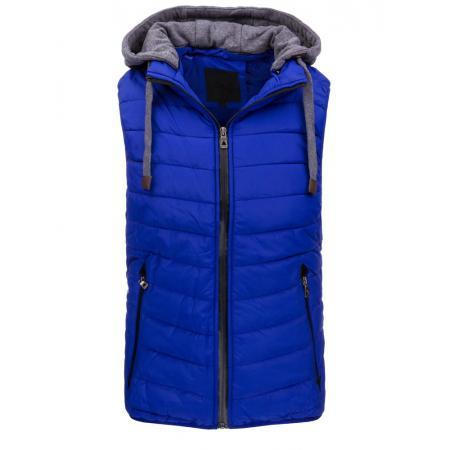 Pánská vesta s kapucí modrá