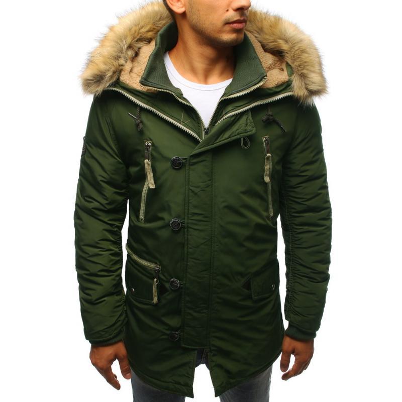 8efcc345e Pánská zimní bunda tmavě zelená | manSTYLE.cz