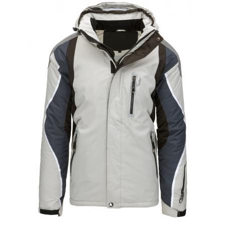 Pánská bunda zimní lyžařská s kapucí šedá