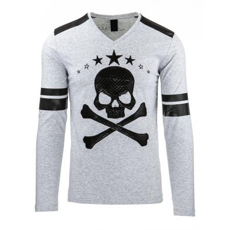 Pánské tričko s potiskem (longsleeve) šedé