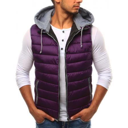 Pánská vesta s kapucí fialová